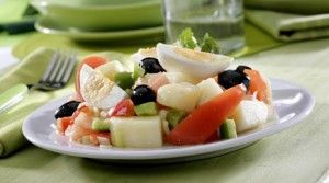 food;salads;dishes;eggs;potatoes;vegetables;red peppers;green peppers;tomatoes;onions